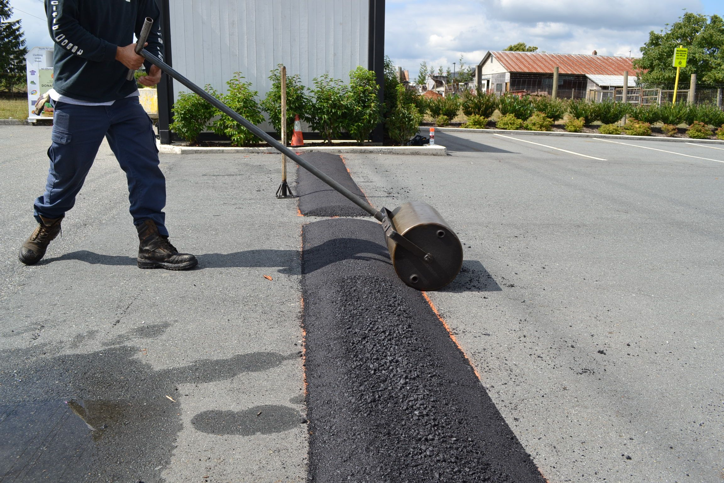commercial paved speed bump installation